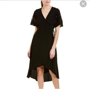 ASTR the Label. Black wrap high low dress.